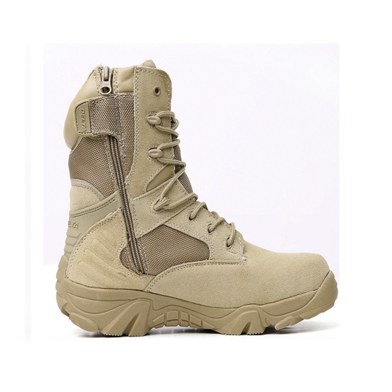"""Delta Side Zip Tan 8"""" Combat Boots - Various"""