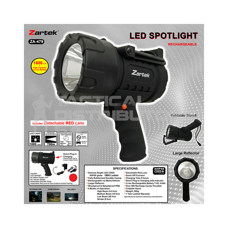Zartek ZA-479 1800 Lumen LED Rechargeable Spotlight