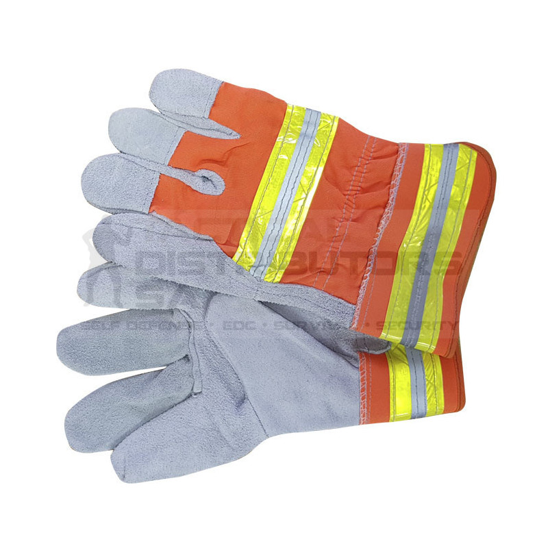 """Pioneer 2.5"""" Chrome Leather Glove With Reflective Tape Back  - OSFM"""