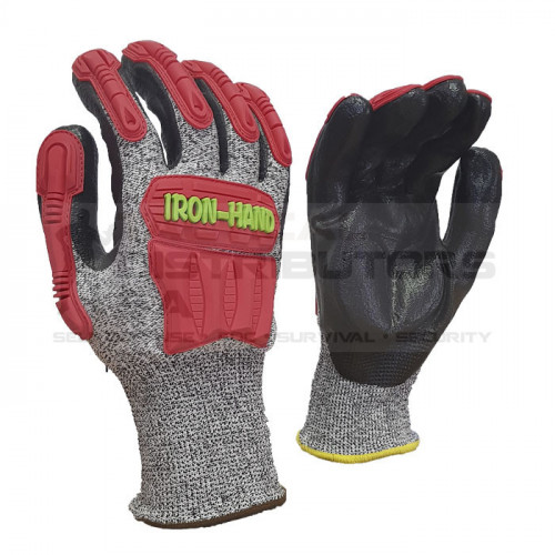 Pioneer Maxmac Iron Hand Glove Cut LV5 , 13 G, Knuckle Nitrile Palm Work Gloves