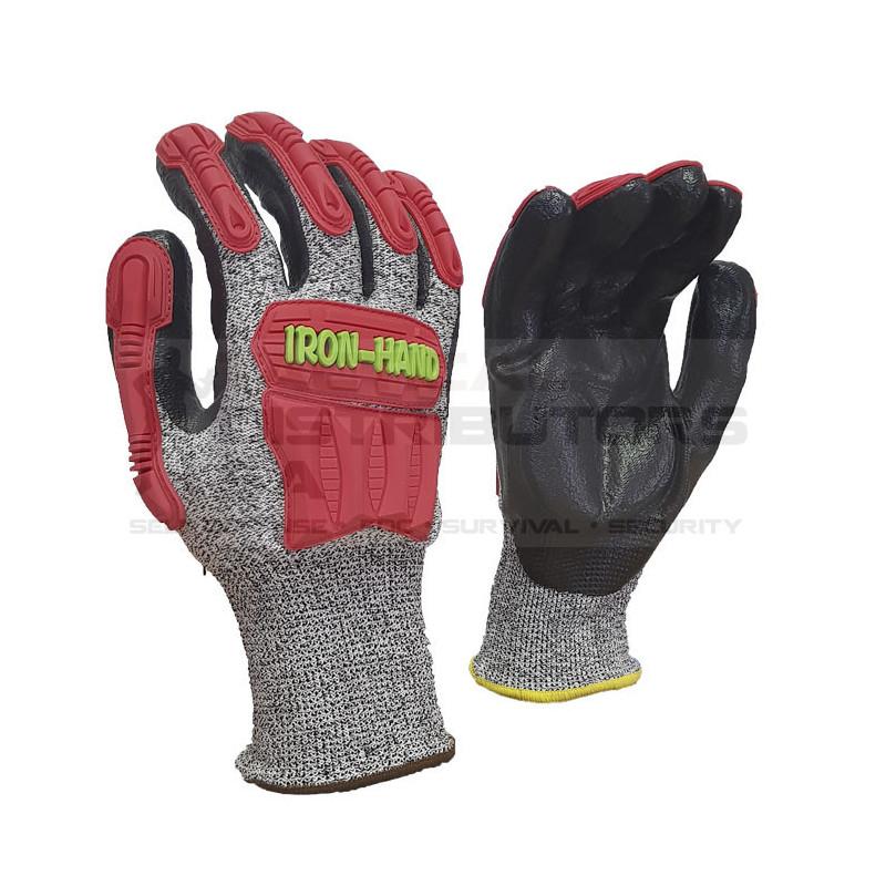 Pioneer Maxmac Iron Hand Glove Cut LV5 , 13 G, Knuckle Nitrile Palm Work Gloves