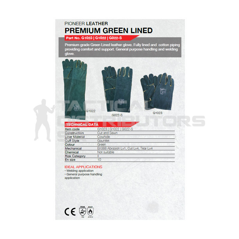 "8"" Green Lined Elbow Length Welding Gloves - OSFM"