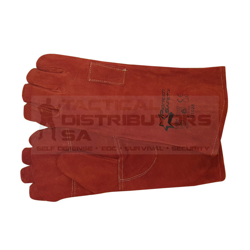 """8"""" Supa Red Heat Resistant Elbow Kevlar Stitched Welding Gloves - OSFM"""