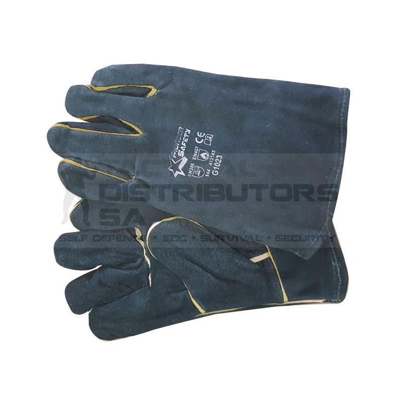 """2.5"""" Green Lined Wrist Length Welding Gloves - OSFM"""