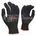 Flex 13 Gauge Black Lined, Black Foam Latex Coated Palm General Purpose Gloves
