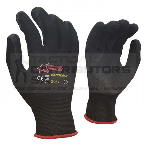 Flex 13 Gauge Black Lined, Black Foam Latex Coated Palm General Purpose Gloves