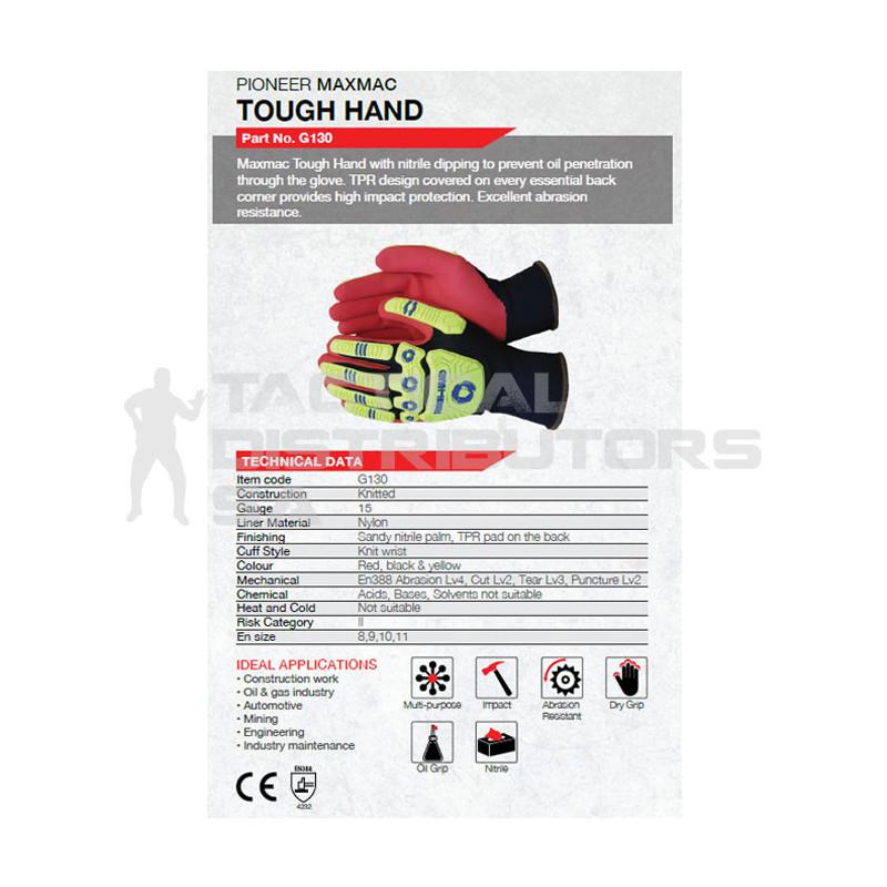 Pioneer Maxmac Tough Hand Glove, 13G, Sandy Nitrile Palm Work Gloves