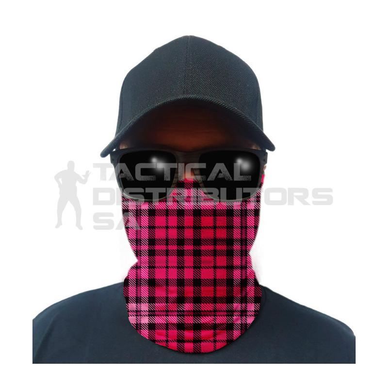 Multi-Use Tubular Bandana/Gator Face Shield - Pink Plaid