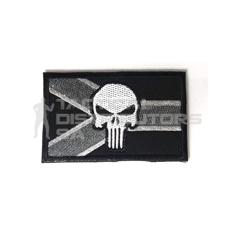 DZI SA Flag Punisher Embroidered Velcro Patch - Black