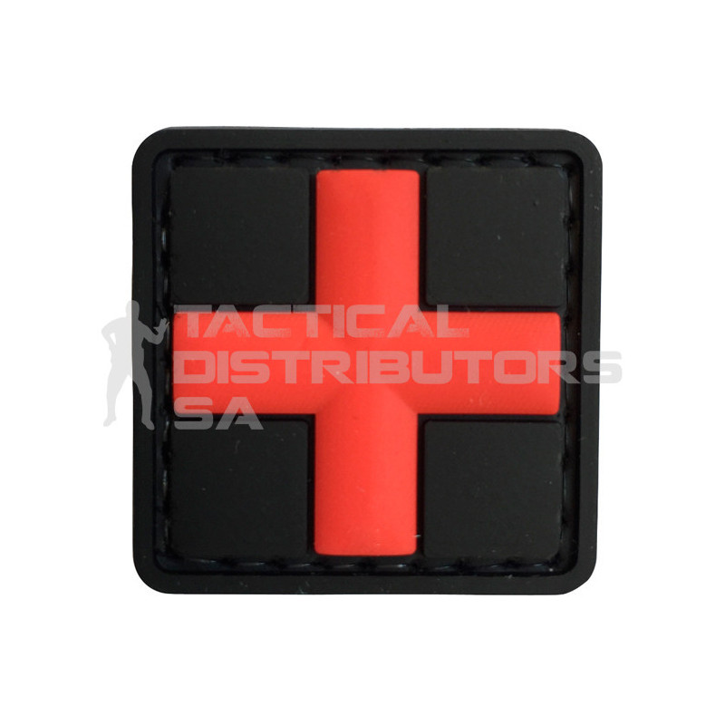 TacSpec 3D Medic Cross PVC Velcro Patch - Black/Red