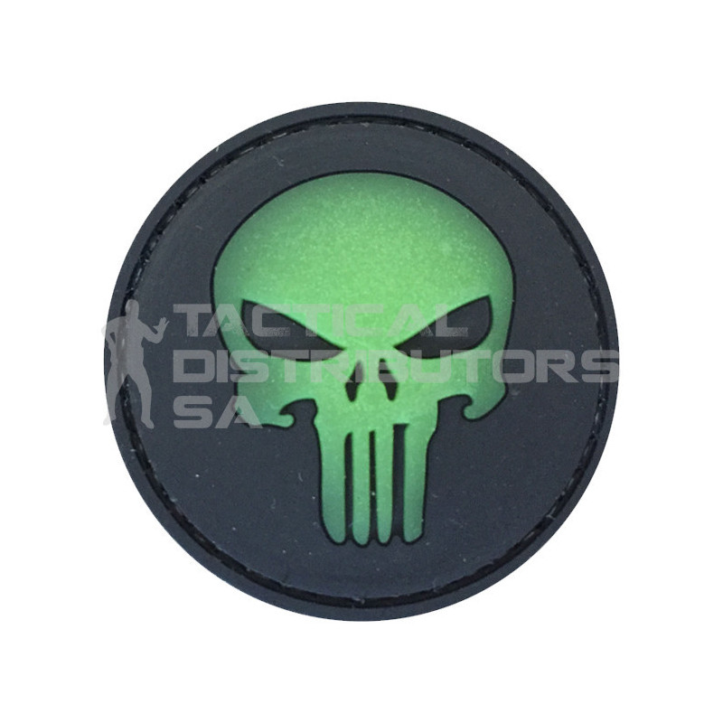 """TacSpec Glow in the Dark """"Punisher"""" PVC Velcro Patch"""