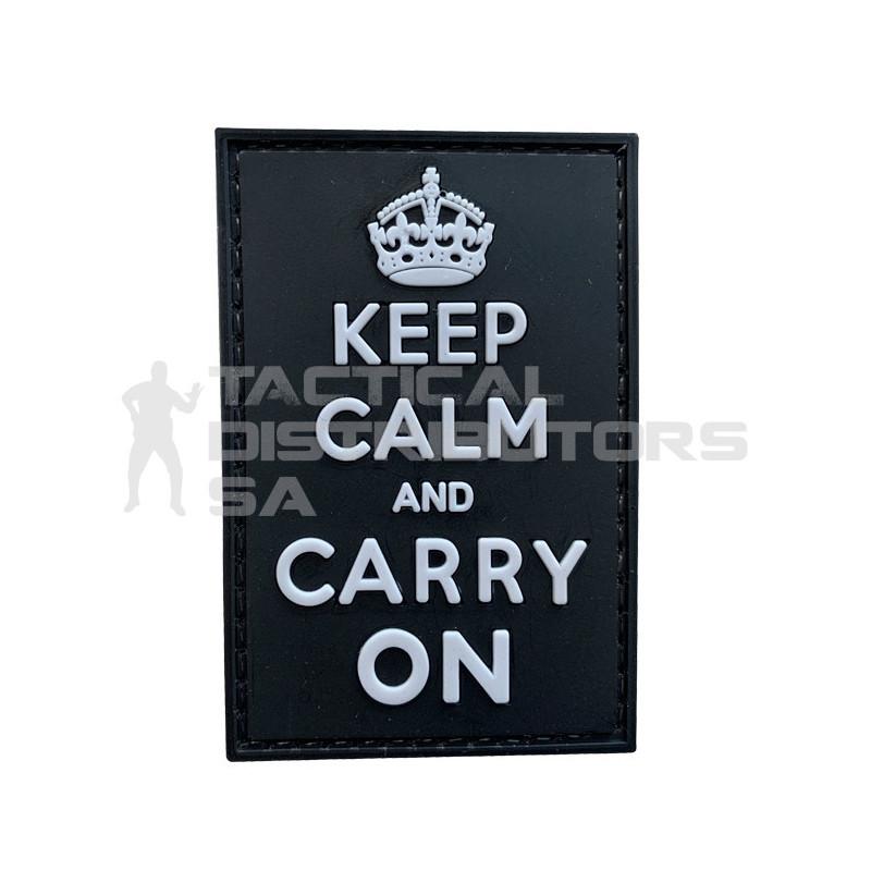 """TacSpec """"Keep Calm"""" PVC Velcro Patch - White/Black"""