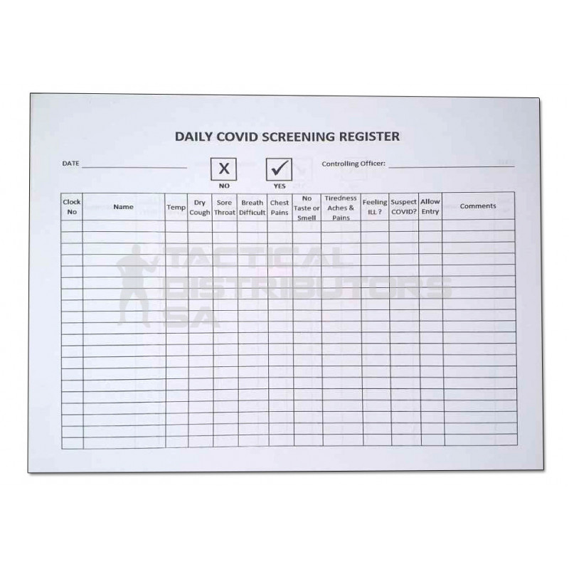 Daily Covid Screening Register Book - 100 Pages Double Sided