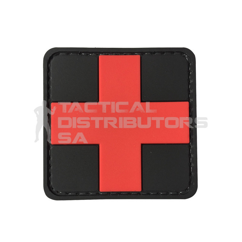 "TacSpec ""Medic Cross"" PVC Velcro Patch - Black/Red"