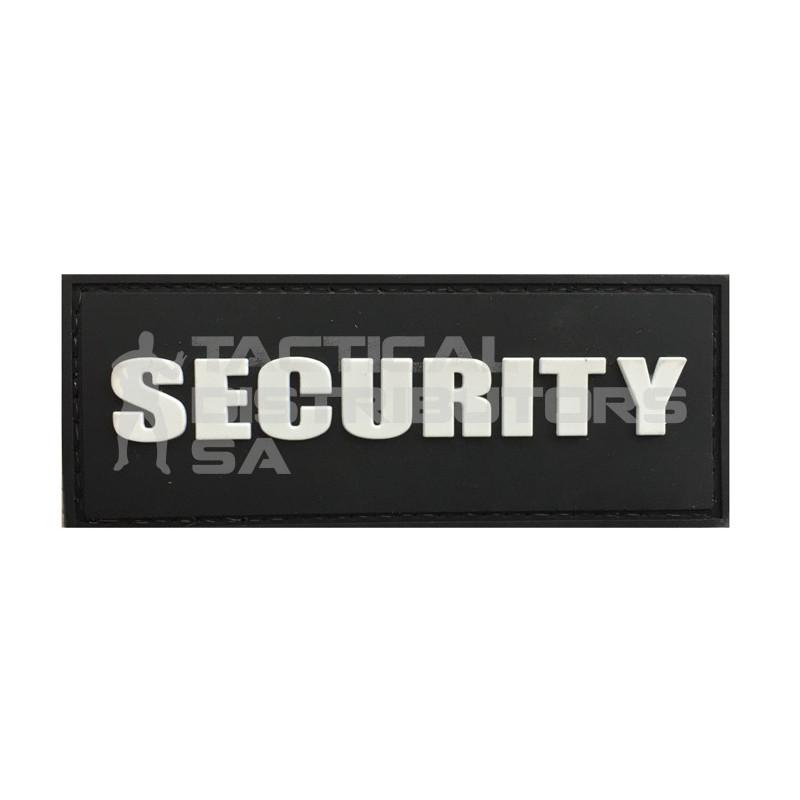 """TacSpec """"Security"""" PVC Velcro Patch - White/Black"""
