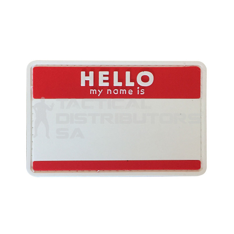 """TacSpec """"Hello My Name Is """" PVC Velcro Patch - Red/White"""