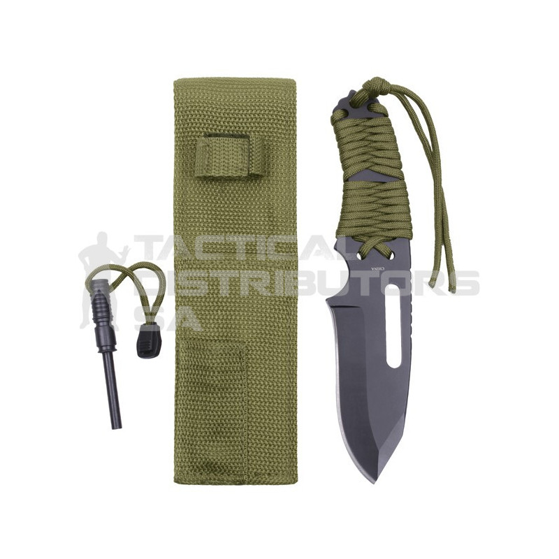 Rothco Large Paracord Knife With Fire Starter - Various Colour