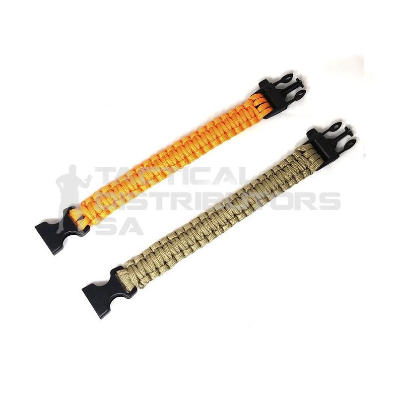 DZI Basic Paracord Bracelet Including Whistle - Various