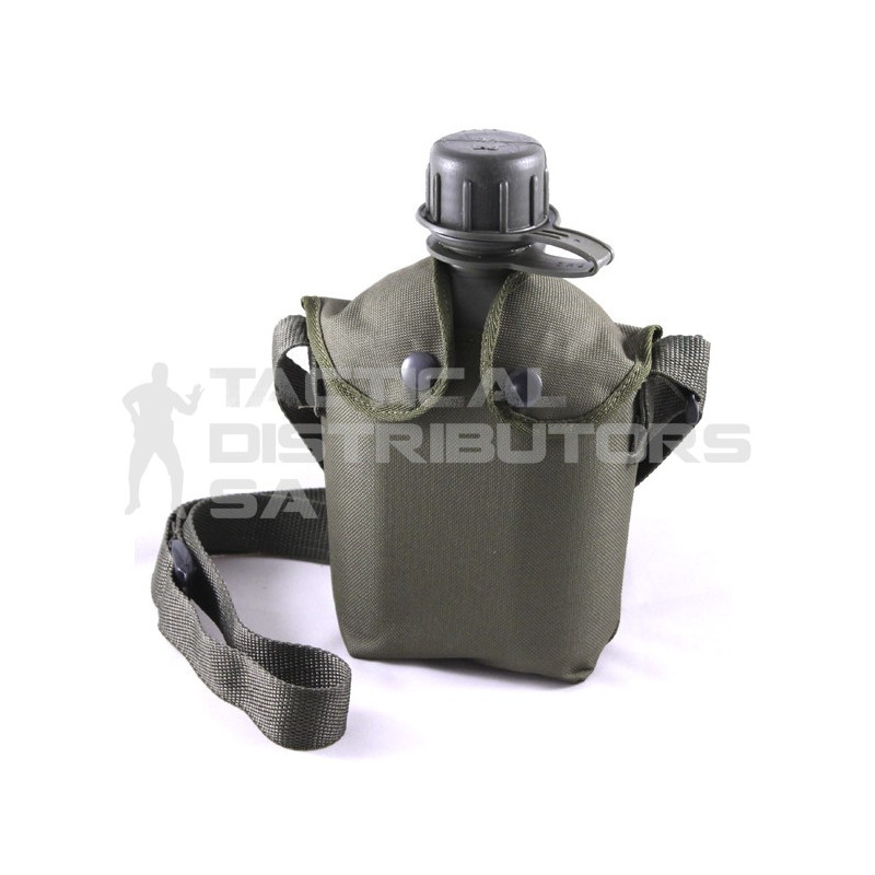 1L Canteen and Pouch and Strap - Green