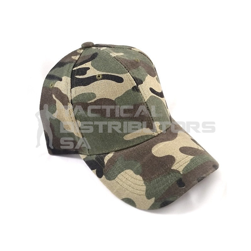 Basic 6 Panel Camo Cap - Woodland