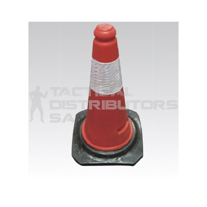 Red Hard PVC Traffic Cone with Black Rubber Base - 500mm