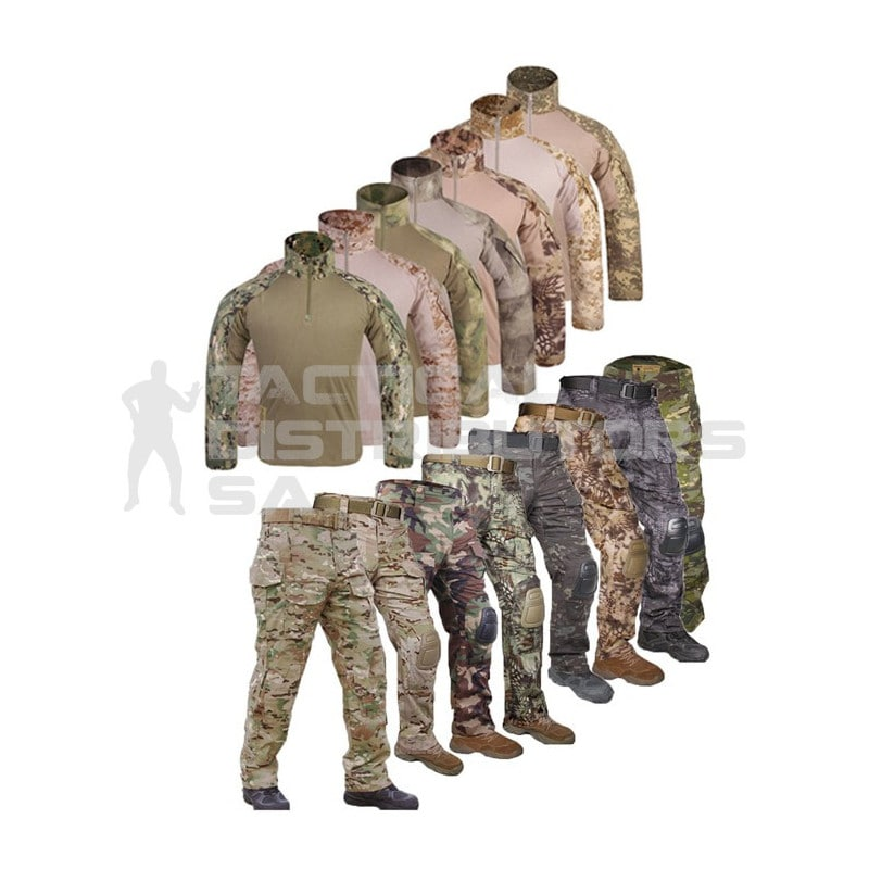 TacSpec Combat Uniform Set with Knee and Elbow Pads - Various