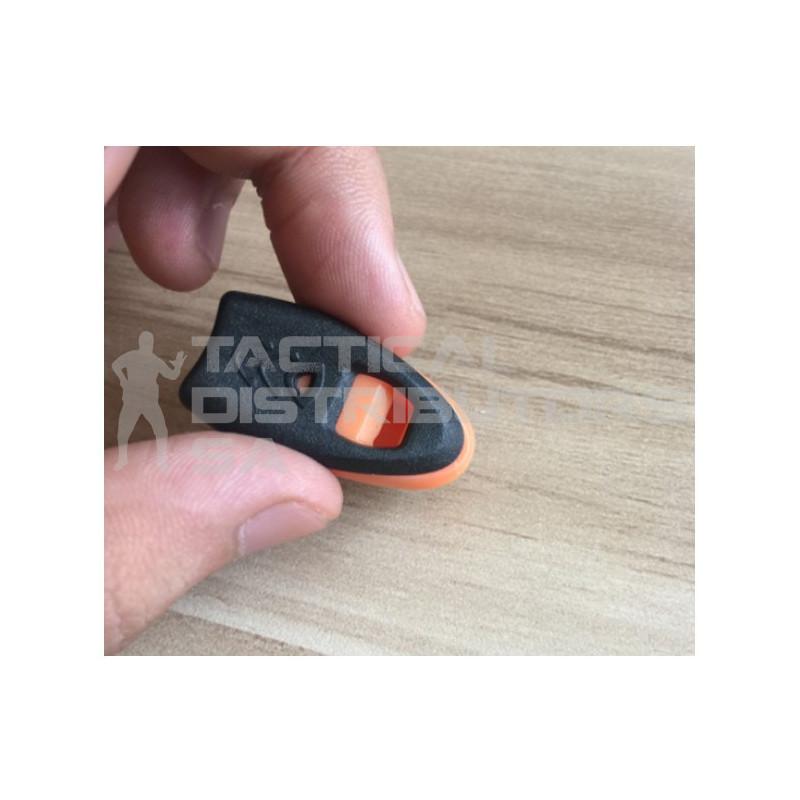 DZI Zipper/Utility Survival Whistle - Black and Orange