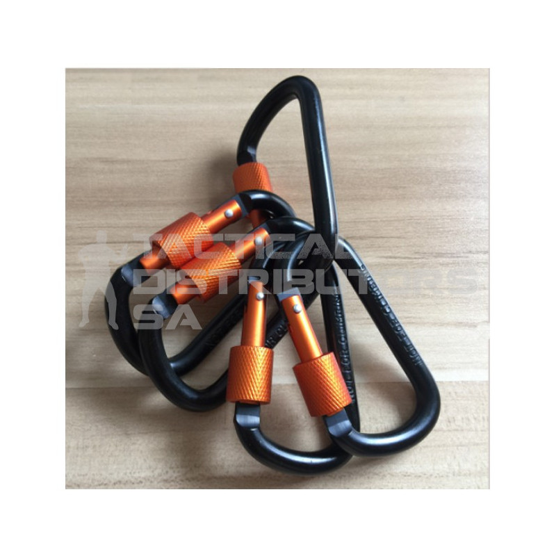 DZI 80mm D-Shape Gear Carabiner - Black and Orange