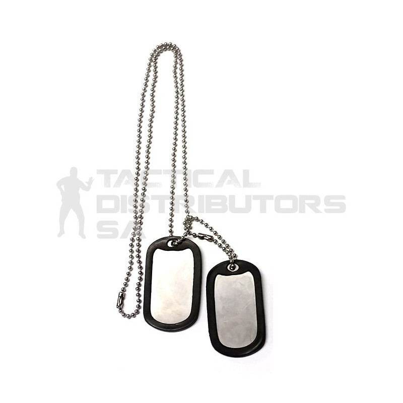 Complete Stainless Military Dog Tag Set - 2 x Tags, Chain, Silencers