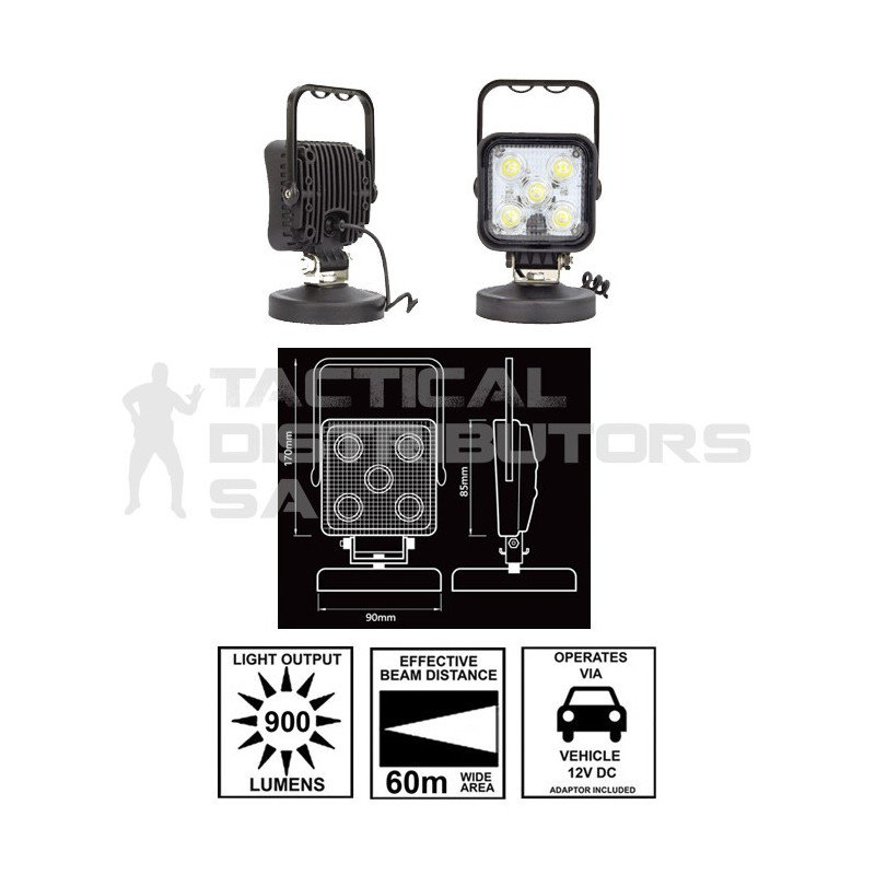 Zartek 900 Lumen 12v Vehicle Magnetic LED Floodlight with On/Off Switch