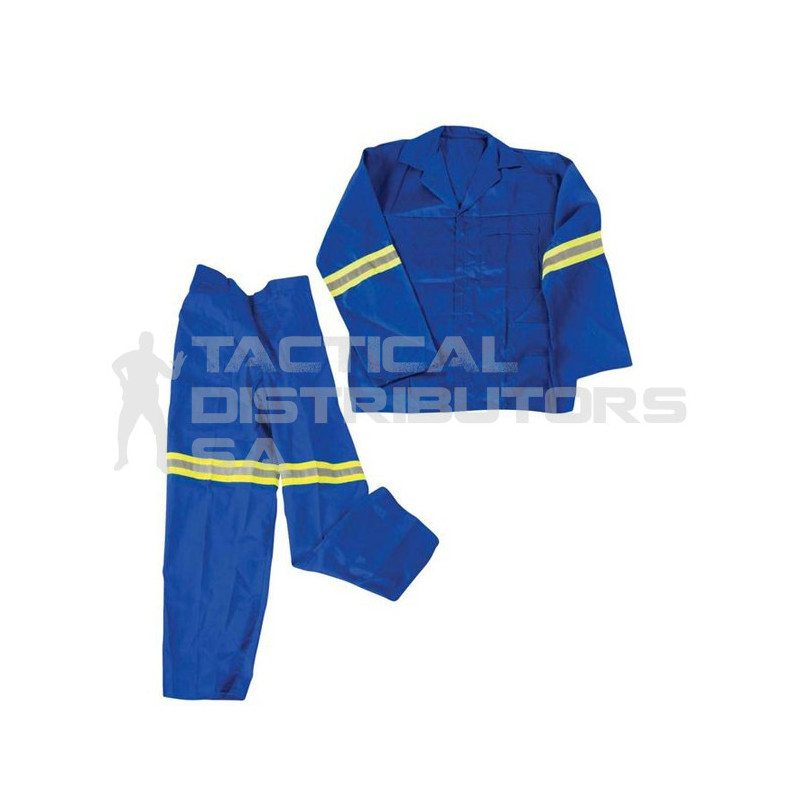 2 Piece Polycotton Conti Suit with Reflective Tape - Royal Blue