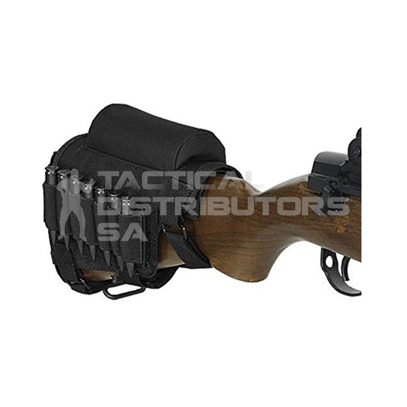 Rifle Adjustable Cheek Pad with Rest and Ammo Pouch - Black