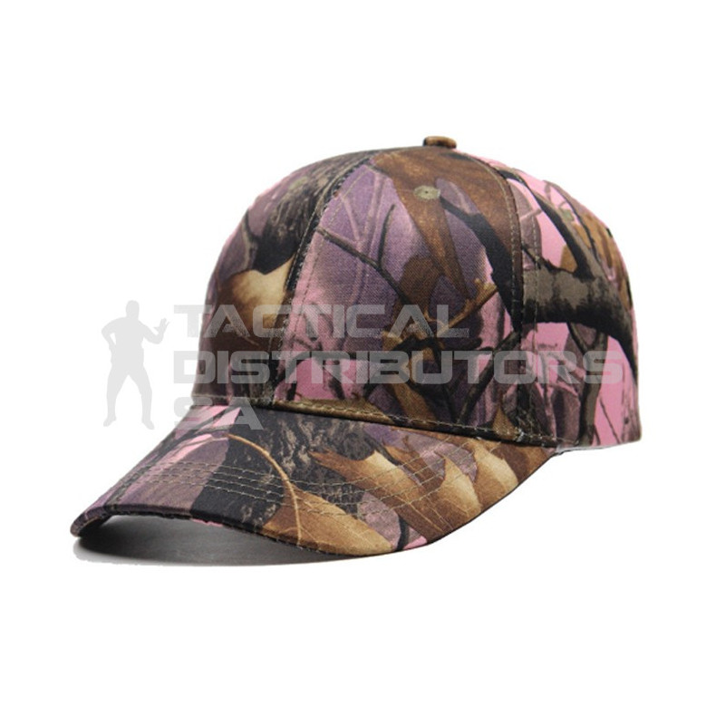 Basic 6 Panel Camo Cap - Pink Bush Pattern