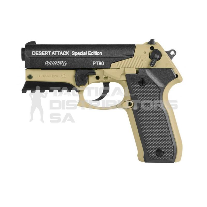 Gamo Air Pistol 4 5mm PT-80 Desert Attack Dual Pellets - Tactical  Distributors SA (Pty) Ltd