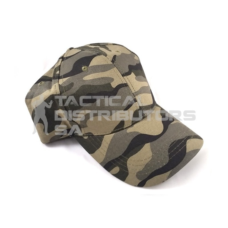 Basic 6 Panel Camo Cap - Woodland Narrow
