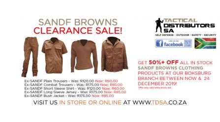 TDSA Boksburg EX SANDF Browns Clothing Clearance Sale!