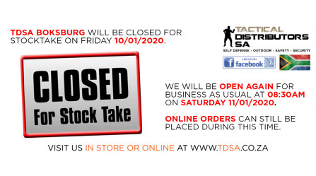 TDSA Boksburg and Headoffice will be Closed for Stocktake on Friday 10/02/2020!