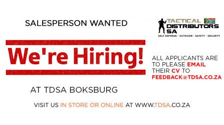 TDSA Boksburg is Hiring - Salesperson Wanted