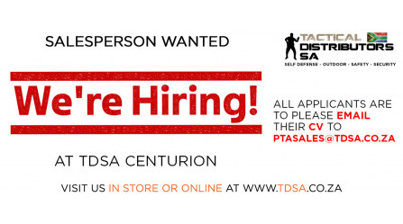 TDSA Centurion is Hiring - Salesperson Wanted